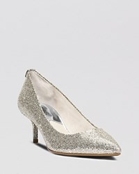 Michael Michael Kors Pointed Toe Pumps Mk Flex Kitten Heel Silver