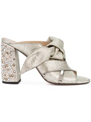 Chloe Nellie Crystal Heel Mule Sandals Women Leather 40 Grey