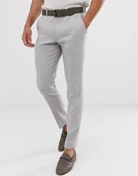 Selected Homme Slim Suit Trouser In Sand Linen Stretch Beige