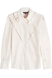 Tara Jarmon Ruffled Jacquard Blouse With Cotton And Silk Beige