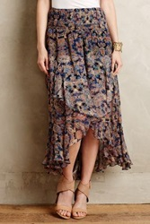 Anthropologie Ruffled Silk Midi Skirt Multi