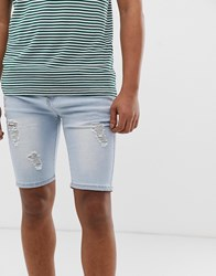 Good For Nothing Denim Shorts In Light Blue With Distressing