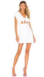 Susana Monaco Bow Front Dolman Mini Dress In White. Sugar