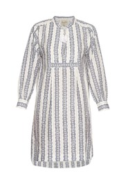 Sea Striped Linen Long Sleeved Dress Blue White