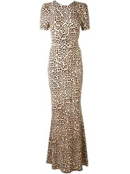 Givenchy Fitted Leopard Print Gown Nude And Neutrals