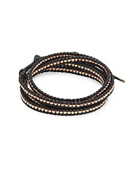 Chan Luu 18K Gold Plated Sterling Silver And Leather Multi Layer Bracelet Black