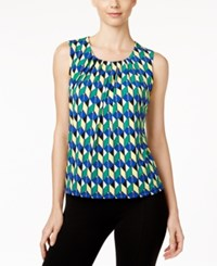 Kasper Printed Pleat Neck Shell Celeste Multi