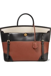 Burberry Buckle Embellished Canvas And Leather Tote Brown