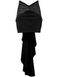Attico Draped Embellished Mini Skirt Black