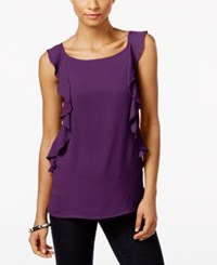Inc International Concepts Ruffled Top Only At Macy's Purple Paradise