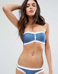 Seafolly Block Party Bandeau Bustier Bikini Top Denim Blue