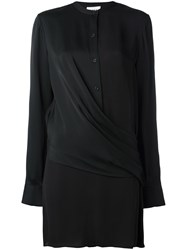 Dkny Draped Front Satin Blouse Black