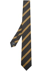 Z Zegna Striped Textured Tie Black