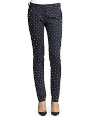 Faith Connexion Studded Cotton Sateen Skinny Pants Navy