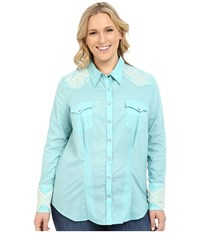 Stetson Plus Size Solid Lawn Long Sleeve Western Shirt Blue Women's Long Sleeve Button Up