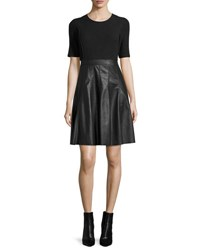 Rebecca Taylor Knit And Vegan Leather Dress Black