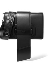 Prada Ribbon Plexi Leather Shoulder Bag Black