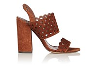 Tabitha Simmons Women's Ilma Laser Cut Suede Sandals Brown Dark Orange Brown Dark Orange