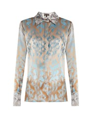 Sophie Theallet Waleska Silk Satin Shirt Blue Multi