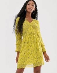 Na Kd V Neck Floral Print Mini Dress In Yellow