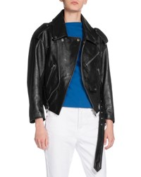 Balenciaga Leather Swing Biker Jacket Black Red