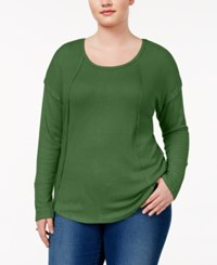 Almost Famous Trendy Plus Size Waffle Knit Top Olive