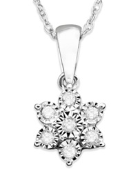 Macy's Diamond Flower Pendant Necklace In 10K White Gold 1 10 Ct. T.W.