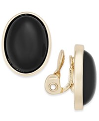 Charter Club Gold Tone Colored Stone Clip On Stud Earrings Only At Macy's Black