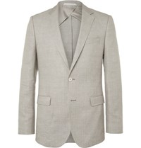 Hugo Boss Brown Nobis Wool And Linen Blend Blazer Beige