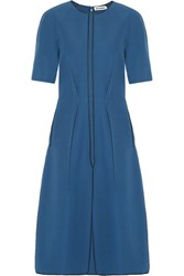 Jil Sander Pleated Crepe Midi Dress Blue