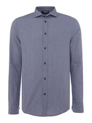 Armani Jeans Men's Regular Fit Dotted Chambray Long Sleeve Shirt Navy