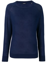 Aspesi Round Neck Knitted Jumper Blue