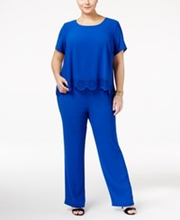 Ny Collection Plus Size Laser Cutout Popover Jumpsuit Surf Serene