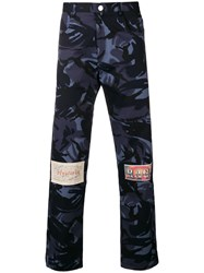 Martine Rose Knee Patch Straight Trousers Blue