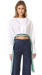 Diane Von Furstenberg Long Sleeve Cropped Side Tie Blouse White