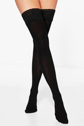 Boohoo Isabel Black Lace Top Stockings Black