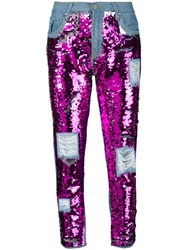Don't Cry Sequin Embellished Jeans Blue