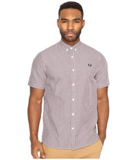 Fred Perry Three Colour Basket Weave Shirt Dark Carbon Men's Clothing Navy
