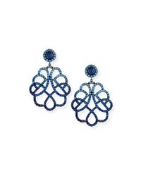Alexander Laut Ombre Sapphire Scroll Earrings In 18K White Gold