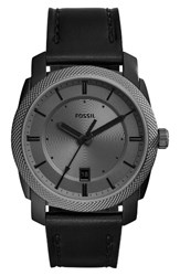 Fossil Men's Machine Leather Strap Watch 42Mm