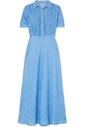 Paul And Joe Julia Lace Trimmed Floral Jacquard Midi Dress Blue Gbp