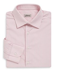 Brioni Checked Cotton Dress Shirt Light Pink