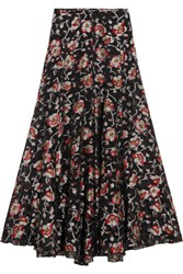Isabel Marant Peace Metallic Floral Jacquard Maxi Skirt Black