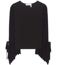 See By Chloe Knitted And Crepe Top Black