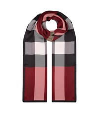 Burberry Shoes And Accessories House Check Silk Gauze Scarf Female Red