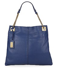 Badgley Mischka Greta Leather Chain Hobo Bag Navy