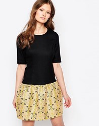 Traffic People Changeling Dress With Jacquard Skirt Gold