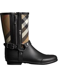 Burberry Buckle And Strap Detail Check Rain Boots Black
