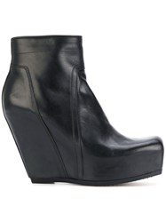 Rick Owens Platform Wedge Boots Calf Leather Leather Rubber Black