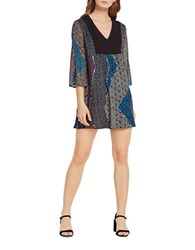 Bcbgeneration Paisley Patchwork Print Dress Blue Grey Multi